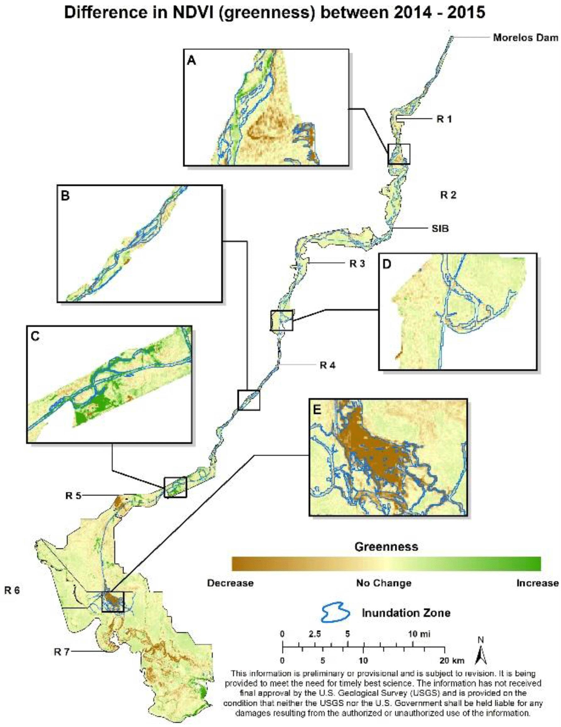 PIAHS - Remote sensing vegetation index methods to evaluate changes